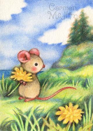 Hug a Dandelion - cute mouse art by Carmen Medlin