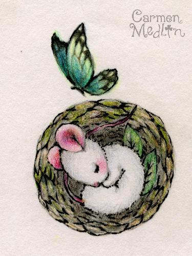 Mousie Nest - animal sketch by Carmen Medlin