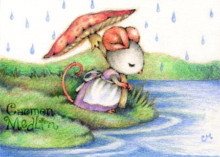 Mushroom Umbrella - cute mouse art by Carmen Medlin