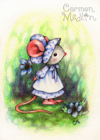 Prairie Mouse - cute pioneer art by Carmen Medlin