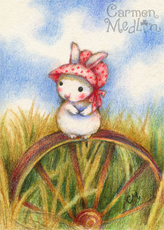 Prairie Rabbit - cute pioneer art by Carmen Medlin