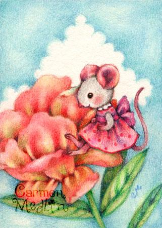 Pretty Peony - cute mouse art by Carmen Medlin