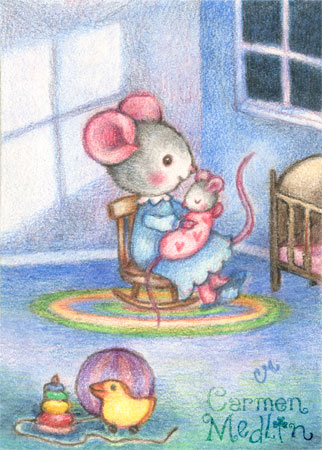 Rock-A-Bye Baby nursery mouse art by Carmen Medlin