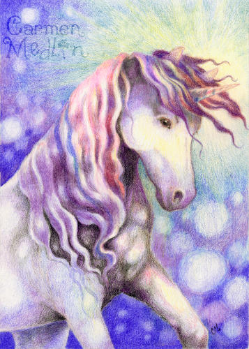 Sparkle - fantasy unicorn art by Carmen Medlin
