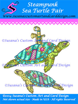 Steampunk Sea Turtles SCACD stamp by Carmen Medlin