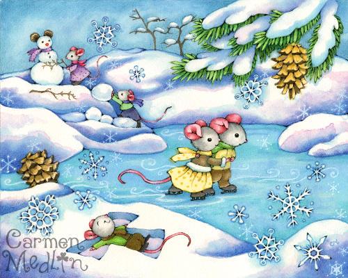 Winter Fun - cute mouse art by Carmen Medlin