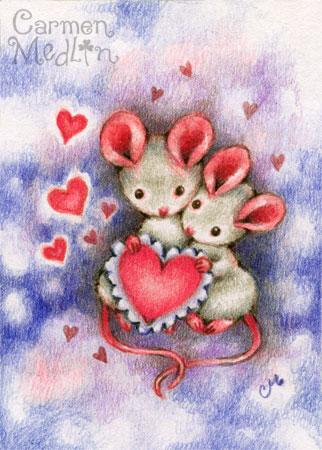Be My Sweetheart - cute mouse art by Carmen Medlin