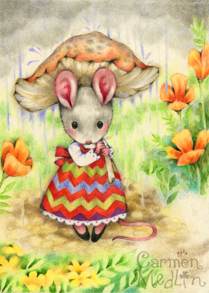 Caught in the Rain - cute mouse colored pencil art by Carmen Medlin