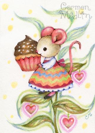 Cupcake Harvest - cute mouse art by Carmen Medlin