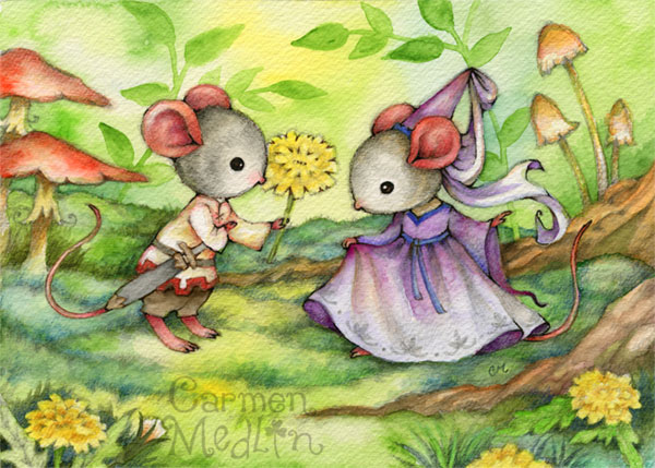Fair Maiden - Medieval mouse watercolor art by Carmen Medlin