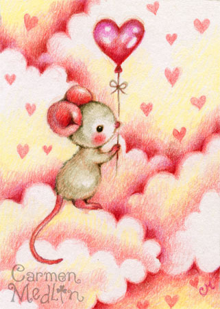 Heart Wish - cute mouse art by Carmen Medlin