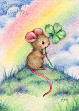 Lucky Mouse - cute animal colored pencil art by Carmen Medlin