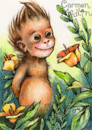 Rainforest Baby - cute orangutan art by Carmen Medlin