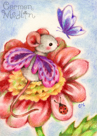 Stop and Smell the Flowers - fairy mouse art by Carmen Medlin