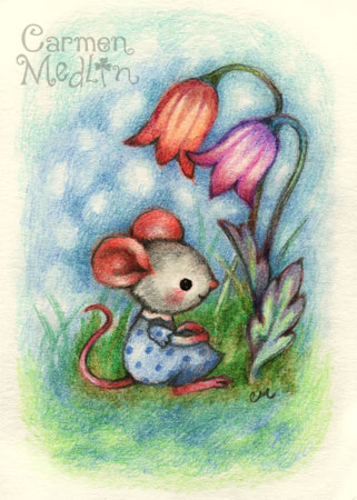 Thoughts of Spring - cute colored pencil mouse art by Carmen Medlin