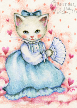 Vintage Beauty - cat art by Carmen Medlin