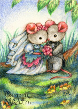 Wedding Day - cute mouse colored pencil art by Carmen Medlin