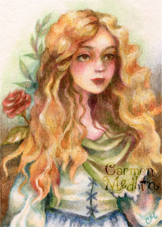 Beauty in the Garden - fairytale art by Carmen Medlin