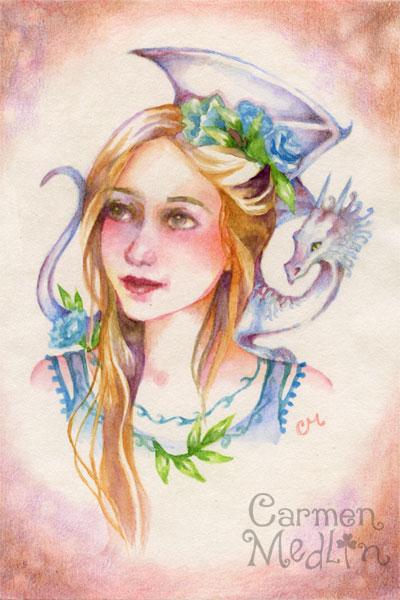 Dragon Maiden - fantasy watercolor art by Carmen Medlin