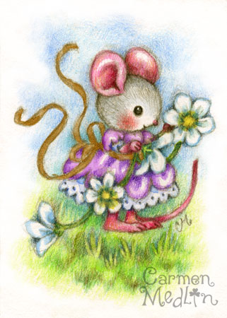 Flower Garland - cute mouse colored pencil art by Carmen Medlin