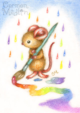 Inspiration - cute mouse colored pencil art by Carmen Medlin