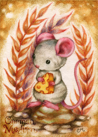 Lunch Time - cute mouse colored pencil art by Carmen Medlin