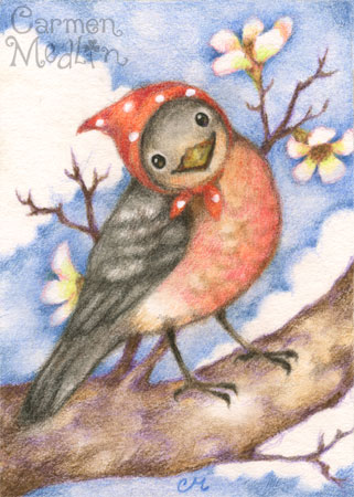 Mrs. Robin - cute bird colored pencil art by Carmen Medlin