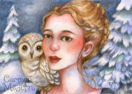 Owl Maiden - whimsical art by Carmen Medlin