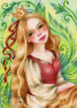 Portrait of Rapunzel fairytale colored pencil art by Carmen Medlin