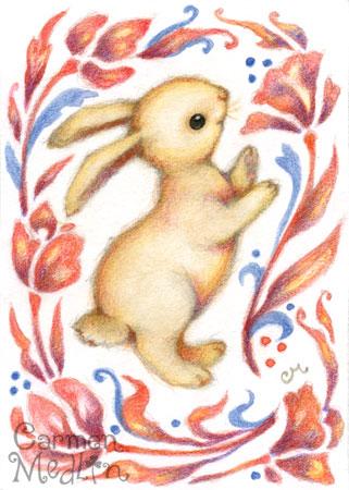 Rabbit Dance - cute colored pencil art by Carmen Medlin