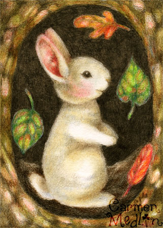 Tree Hollow Bunny - rabbit colored pencil art by Carmen Medlin