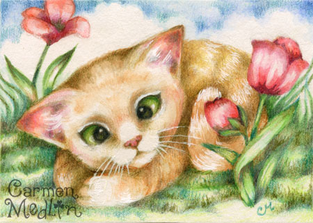 Tulip Kitty - Cute cat watercolor art by Carmen Medlin