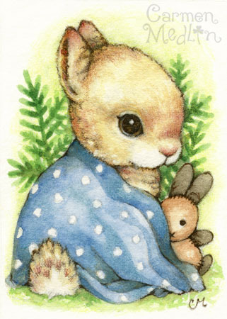 Baby Boy Bunny - cute rabbit art Carmen Medlin