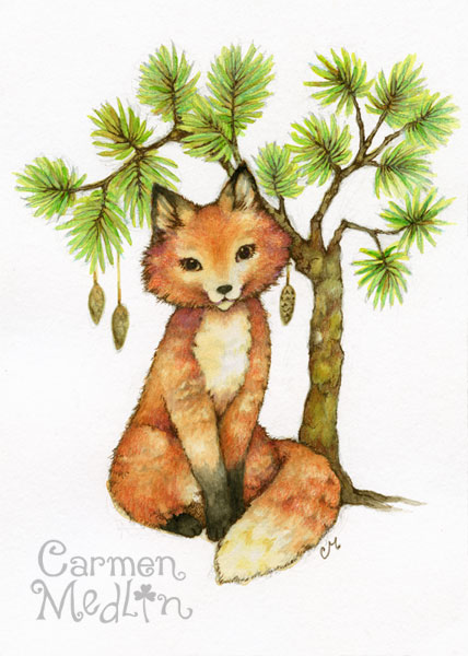Little Fox - cute colored pencil art Carmen Medlin