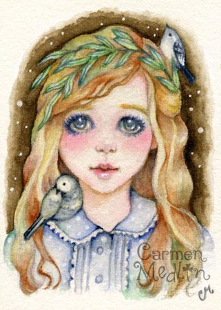 Little Willow - whimsical watercolor art Carmen Medlin