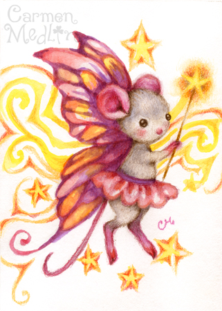 Make A Wish - cute fairy mouse art by Carmen Medlin