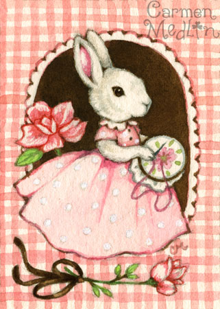 Miss Rose - cute watercolor gingham rabbit art Carmen Medlin