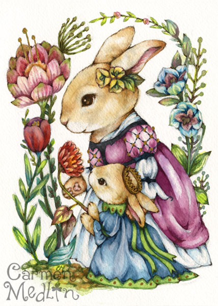 Royal Tutor - Medieval rabbit watercolor illustration Carmen Medlin