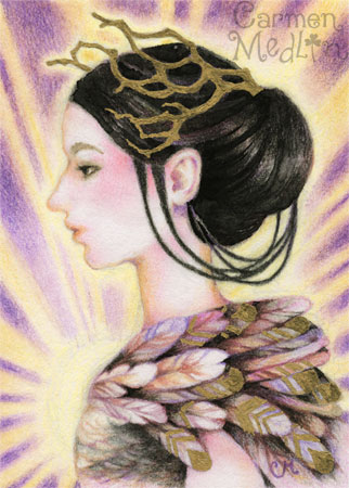 Sparrow Queen - fantasy colored pencil art Carmen Medlin