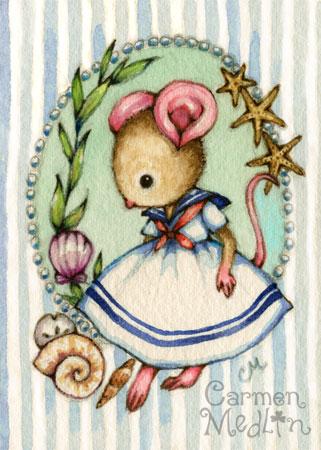 Sweet Pea at the Seaside - cute mouse watercolor art Carmen Medlin