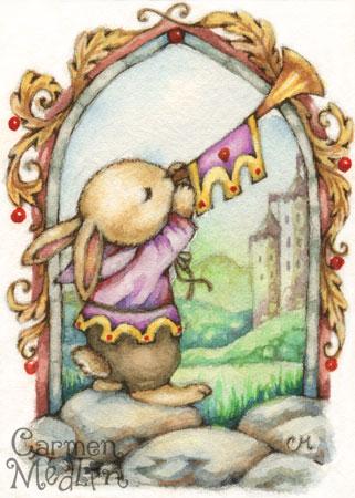 The Herald - cute medieval rabbit watercolor illustration Carmen Medlin