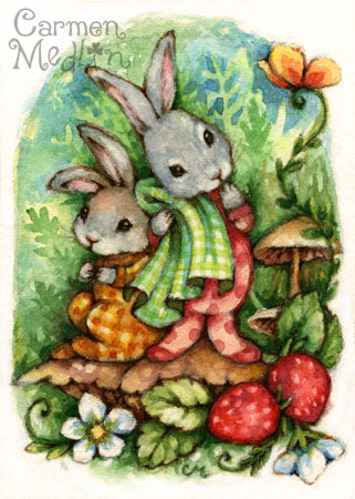 Woodland Siblings - cute rabbit watercolor illustration Carmen Medlin