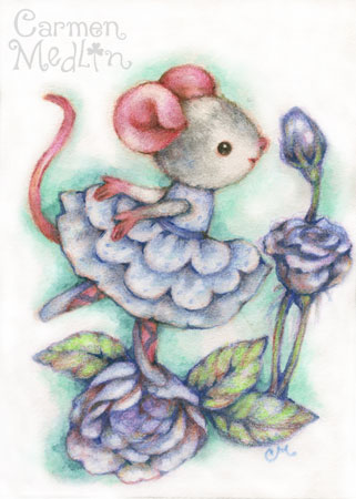 Blue Roses - colored pencil mouse illustration by Carmen Medlin