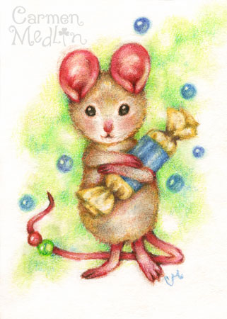 Give Me Candy - cute mouse colored pencil art Carmen Medlin