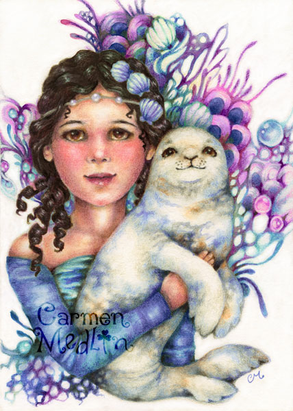 Seal of Friendship - ocean fantasy art Carmen Medlin colored pencil watercolor