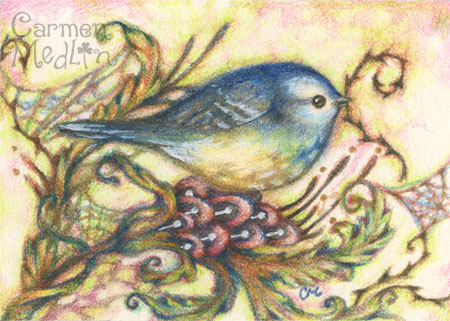 Build a Nest - whimsical bird colored pencil art Carmen Medlin
