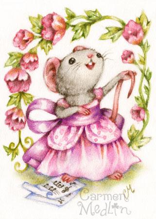 Diva - cute musical singer mouse by Carmen Medlin