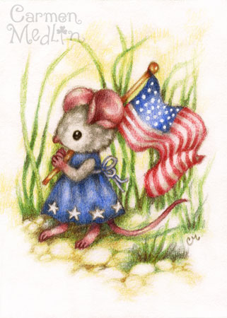 Independence Day - cute patriotic mouse art Carmen Medlin