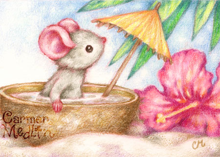 Mouse's Vacation - cute beach art Carmen Medlin