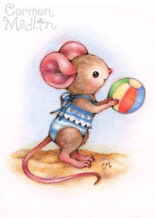 Beach Time - cute mouse art Carmen Medlin